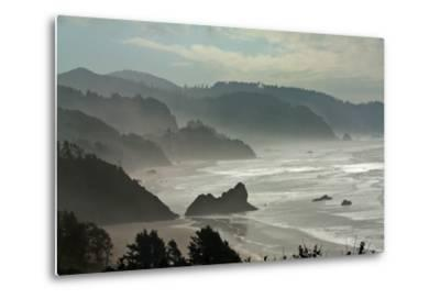 Fog Rolls onto the Rocky, Hilly Coastline-Vickie Lewis-Metal Print