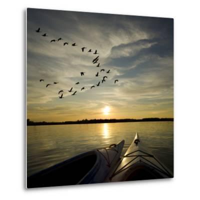 Kayaks On Lake Ontario Sunset-Gordo25-Metal Print