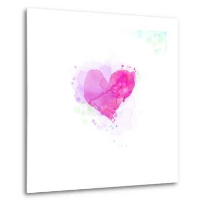 Painted Watercolor Heart-lozas-Metal Print