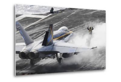 Sailors Prepare an F-A-18C Hornet to Launch from USS Nimitz--Metal Print