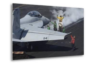 Sailors Prepare an F-A-18F Super Hornet for Launch--Metal Print