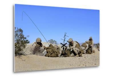 U.S. Marines Setup Communication Equipment and Conduct Radio Checks--Metal Print