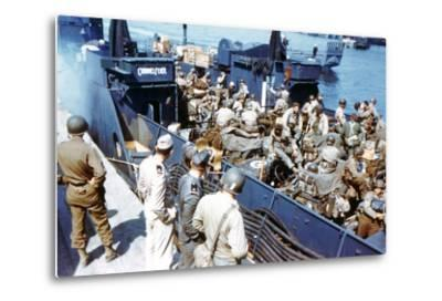Soldiers of the 1st Infantry Division of the US Army Have Boarded the Landing Craft Transport--Metal Print