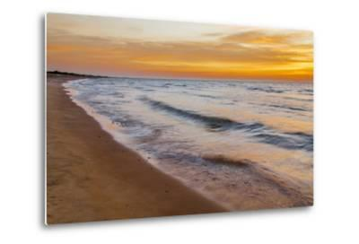 USA, Michigan, Paradise, Whitefish Bay Beach with Waves at Sunrise-Frank Zurey-Metal Print