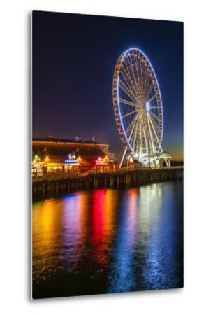 USA, Washington, Seattle. the Seattle Great Wheel on the Waterfront-Richard Duval-Metal Print