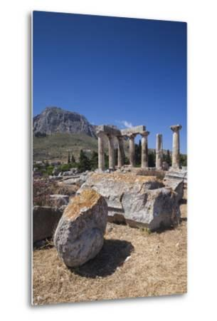 Greece, Peloponnese, Corinth, Ancient Corinth, Temple of Apollo-Walter Bibikow-Metal Print