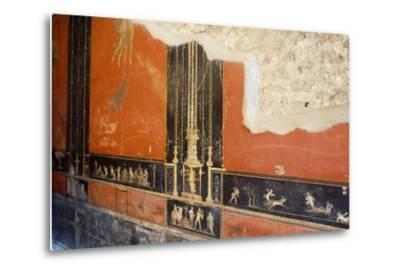 Wall Painted Red with Friezes Depicting Cupids, House of Vettii, Pompeii--Metal Print