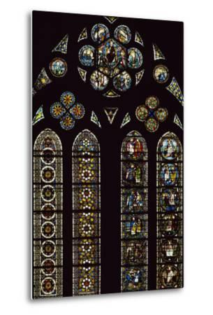 Detail of Stained-Glass Windows Commemorating Apparitions--Metal Print