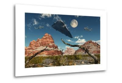 A Pair of Ah-64 Apache Black Ops Helicopters Chasing a Ufo--Metal Print