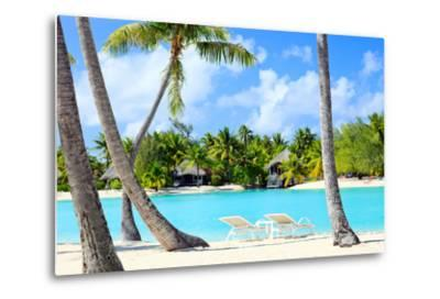 Beautiful Beach on Bora Bora Island in French Polynesia-BlueOrange Studio-Metal Print