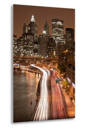 Brooklyn Bridge and Manhattan Skyline, New York City-Paul Souders-Metal Print