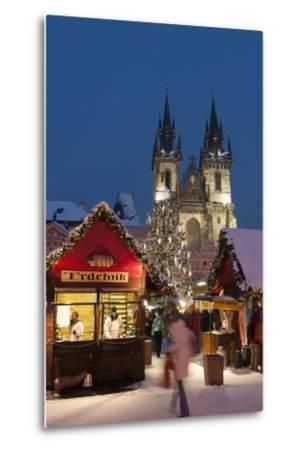 Snow-Covered Christmas Market and Tyn Church, Old Town Square, Prague, Czech Republic, Europe-Richard Nebesky-Metal Print