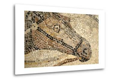 Horse Roman Floor Mosaic--Metal Print
