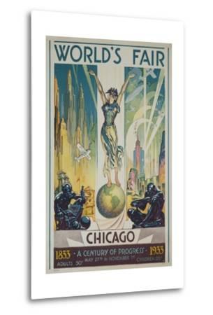1933 Chicago Centennial World's Fair Poster--Metal Print