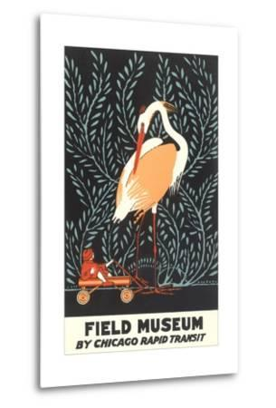 Poster for Field Museum with Giant Heron--Metal Print