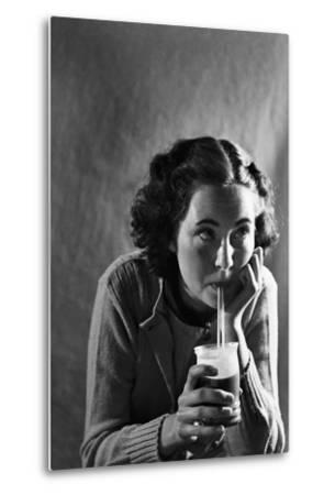 Girl Sipping a Soda-Philip Gendreau-Metal Print