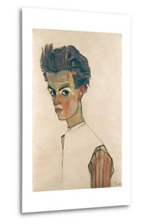 Self-Portrait with Striped Shirt-Egon Schiele-Metal Print