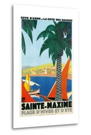 Sainte Maxime, Cote De Azure French Travel Poster--Metal Print