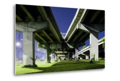 Highway Overpass at Night-Paul Souders-Metal Print
