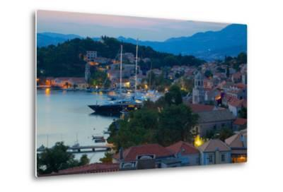 View over Old Town at Dusk, Cavtat, Dubrovnik Riviera, Dalmatian Coast, Dalmatia, Croatia, Europe-Frank Fell-Metal Print