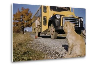 Faithful Dog Watching Boy Enter School Bus-William P^ Gottlieb-Metal Print