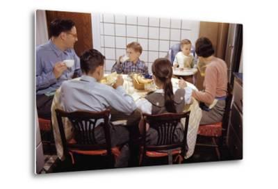 Family Eating Together at Dinner Table-William P^ Gottlieb-Metal Print