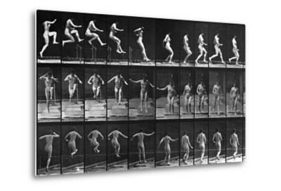 Nude Woman Hurdling--Metal Print