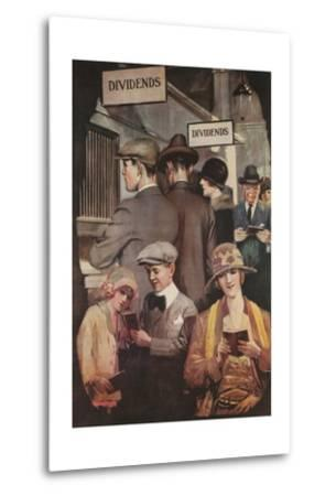 1920s American Banking Poster, Dividends--Metal Print