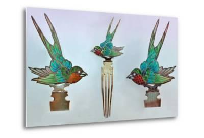 British Arts and Crafts Hair Combs with Swallows--Metal Print