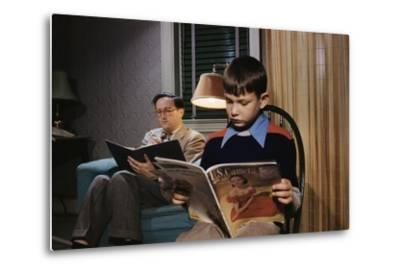 Father and Son Reading at Home-William P^ Gottlieb-Metal Print