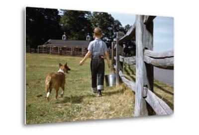 Boy and His Dog Walking Along a Fence-William P^ Gottlieb-Metal Print