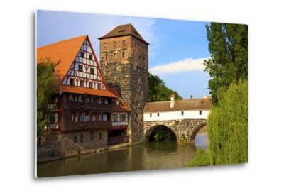 The Wine Store and Hangman's Bridge on the Pegnitz River, Nuremberg, Bavaria, Germany, Europe-Neil Farrin-Metal Print