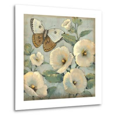 Butterfly and Hollyhocks II-Tim O'toole-Metal Print