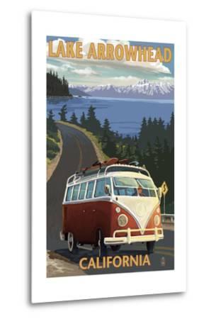Lake Arrowhead - California - VW Van Coastal-Lantern Press-Metal Print