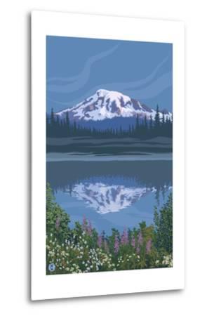 Mount Rainier - Reflection Lake - Image Only-Lantern Press-Metal Print