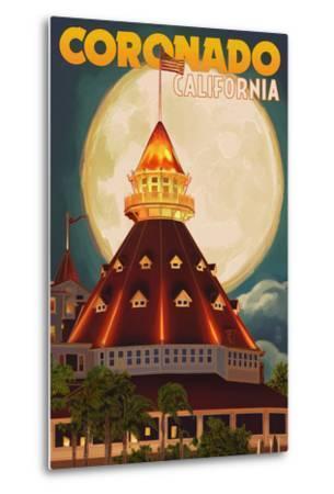 San Diego, California - Hotel Del Coronado and Moon-Lantern Press-Metal Print
