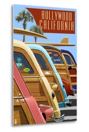 Hollywood, California - Woodies Lined Up-Lantern Press-Metal Print