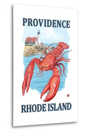 Providence, Rhode Island - Lobster and Lighthouse-Lantern Press-Metal Print