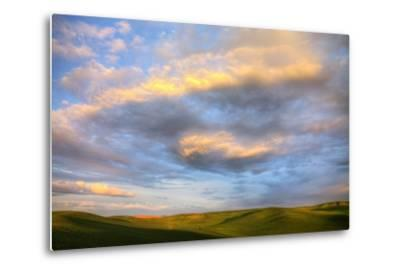 Rolling Hills of Green Spring Wheat and Evening Bright Clouds-Terry Eggers-Metal Print