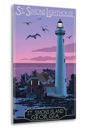 St. Simons, Georgia - Lighthouse-Lantern Press-Metal Print