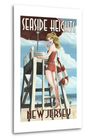 Seaside Heights, New Jersey - Lifeguard Pinup Girl-Lantern Press-Metal Print