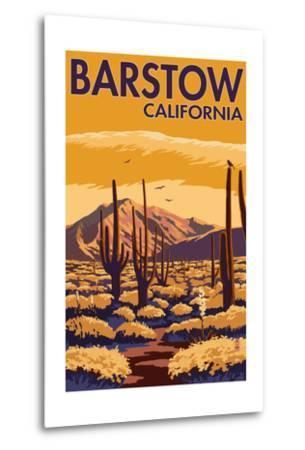 Barstow, California - Desert Scene with Cactus-Lantern Press-Metal Print