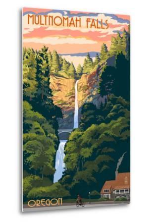 Multnomah Falls, Oregon - Sunset-Lantern Press-Metal Print