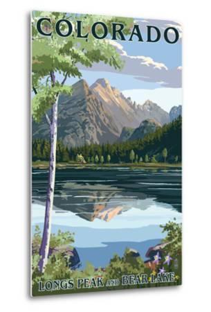 Colorado - Longs Peak and Bear Lake Summer-Lantern Press-Metal Print