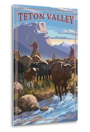 Teton Valley, Idaho - Cowboy Cattle Drive Scene-Lantern Press-Metal Print