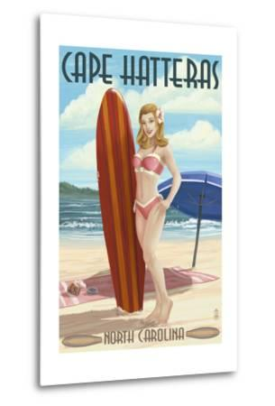 Cape Hatteras, North Carolina - Surfer Girl Pinup-Lantern Press-Metal Print