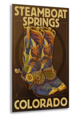 Steamboat Springs, Colorado - Boot Pair-Lantern Press-Metal Print