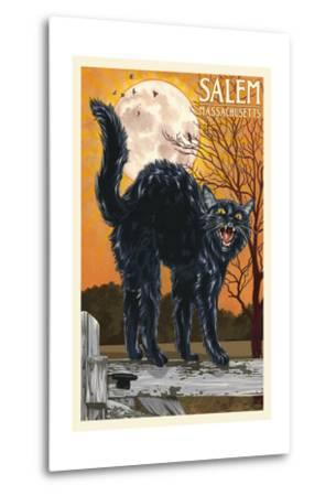Salem, Massachusetts - Black Cat and Moon-Lantern Press-Metal Print