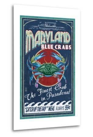 Pasadena, Maryland - Blue Crabs Vintage Sign-Lantern Press-Metal Print