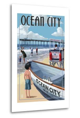 Ocean City, New Jersey - Lifeguard Stand-Lantern Press-Metal Print